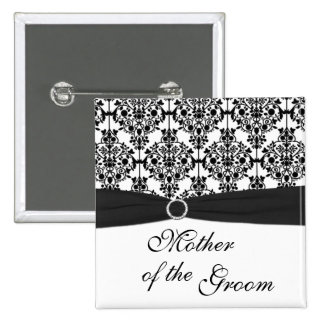 Black and White Damask Mother of the Groom Pin