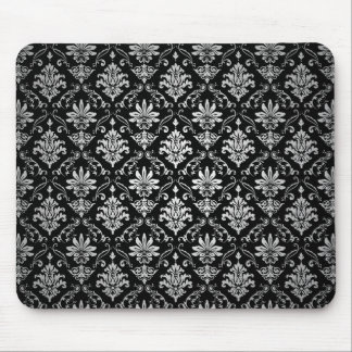 Black and White Damask Mouse Mat
