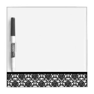 Black and White Damask Pattern Dry Erase Whiteboard