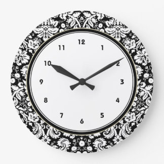 Black and white damask pattern large clock