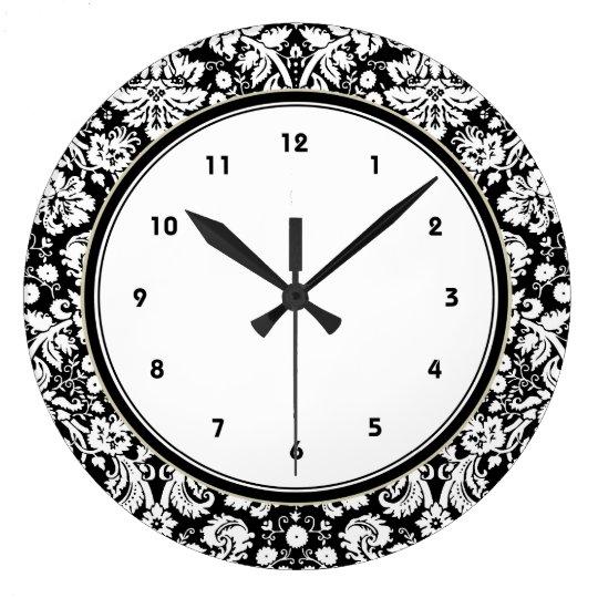631981f5721a Black and white damask pattern large clock | Zazzle.co.uk