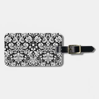 Black and white damask pattern luggage tag