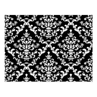 Black and White Damask Pattern Postcard