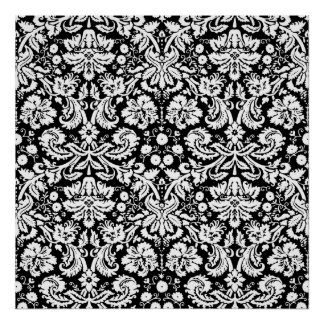 Black and white damask pattern poster
