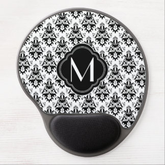 Black and White Damask Pattern with Monogram Gel Mousepads