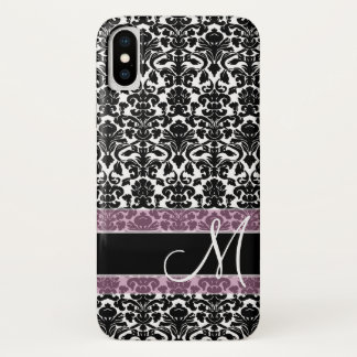 Black and White Damask Pattern with Monogram iPhone X Case