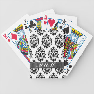 Black and white damask personalized mom bicycle playing cards