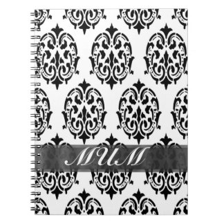 Black and white damask personalized mom notebook