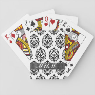 Black and white damask personalized mom playing cards