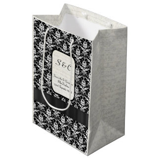 Black and white damask personalized wedding medium gift bag