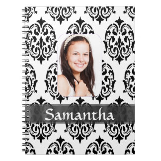 Black and white damask photo template notebook
