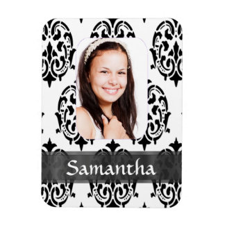 Black and white damask photo template vinyl magnet