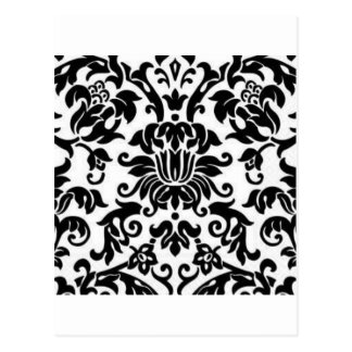 Black and White Damask Postcard