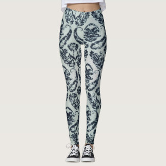Black and White Damask Print Leggings