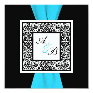 Black and White Damask PRINTED Ribbon 13 Cm X 13 Cm Square Invitation Card