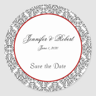 Black and White Damask Red Accent Envelope Seal Round Sticker