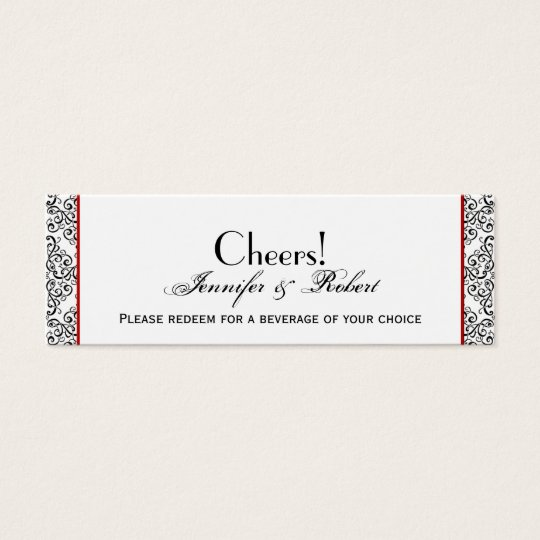 Black and White Damask Red Wedding Drink Ticket