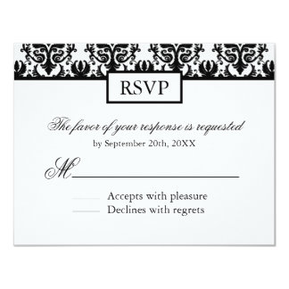 Black and White Damask Reply Cards - RSVP 11 Cm X 14 Cm Invitation Card