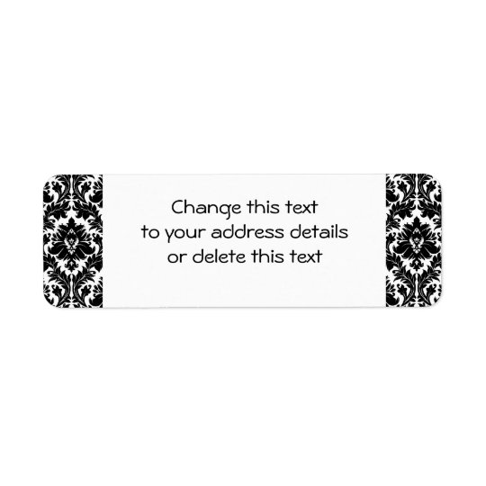 Black and White Damask Return Address Label