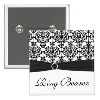 Black and White Damask Ring Bearer Pin
