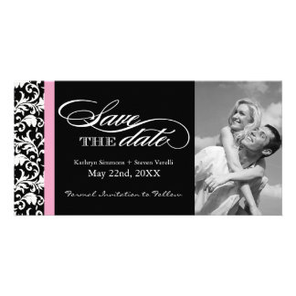 Black and White Damask  Save The Date Customised Photo Card