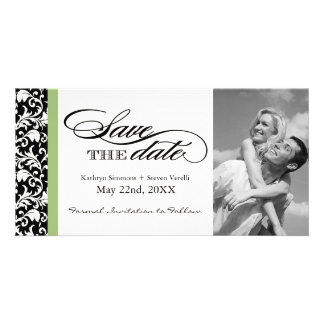 Black and White Damask  Save The Date Personalised Photo Card