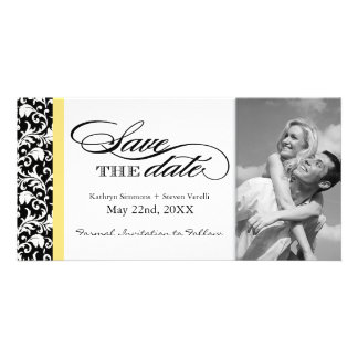 Black and White Damask  Save The Date Personalized Photo Card