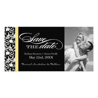 Black and White Damask  Save The Date Photo Greeting Card