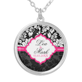 Black And White Damask - Save the date Silver Plated Necklace