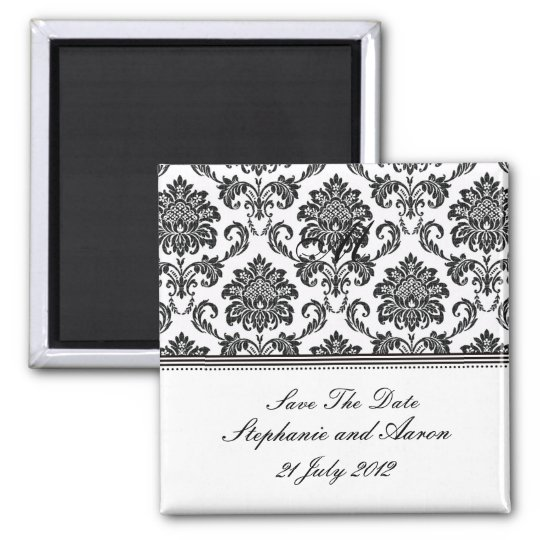 Black and White Damask Save The Date Square Magnet