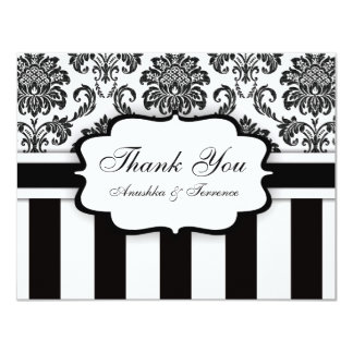 Black and White Damask Stripe Wedding Thank You Card