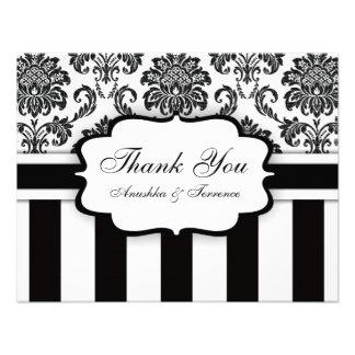 Black and White Damask Stripe Wedding Thank You Invite