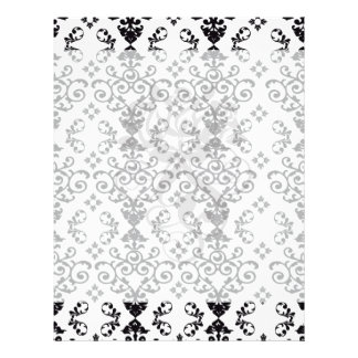 black and white damask swirl custom flyer