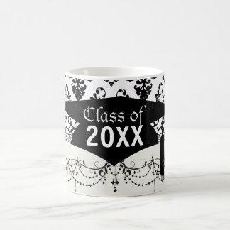 black and white damask swirl graduation basic white mug