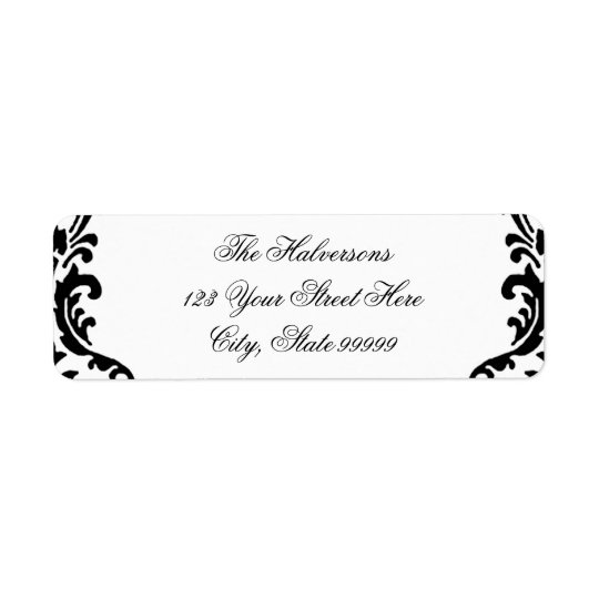 Black and White Damask Swirls Address Labels