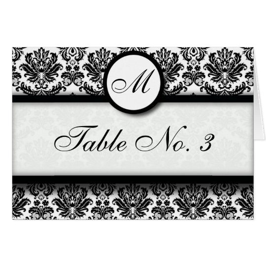 Black and White Damask Table Seating Card