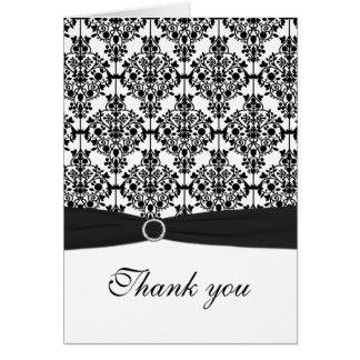 Black and White Damask Thank You Card