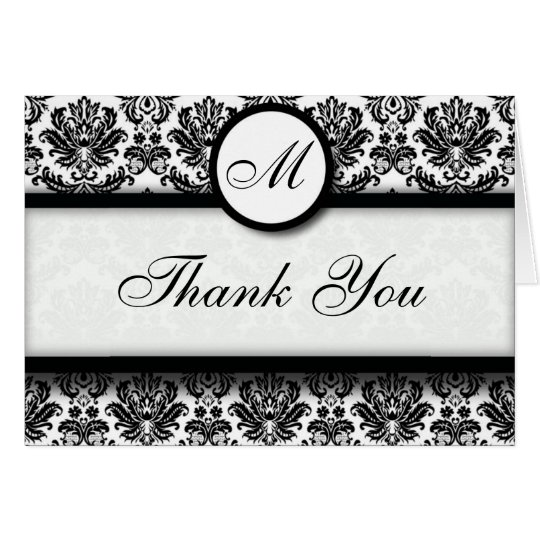 Black and White Damask Thank You Cards