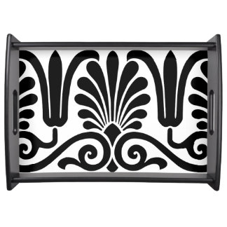 BLACK AND WHITE DAMASK (VICTORIAN MOTIF) SERVING TRAY