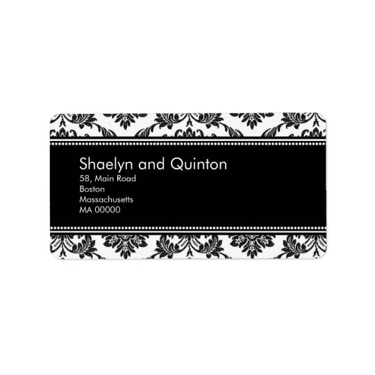 Black and White Damask Wedding Address Labels
