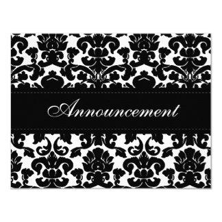 Black and White Damask Wedding Cancellation Card 11 Cm X 14 Cm Invitation Card