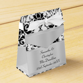 Black and white damask wedding favour box