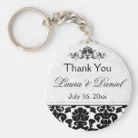 Black and White Damask Wedding Favour Keychain
