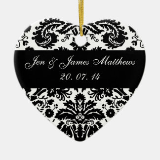 Black and White Damask Wedding Favour Ornament
