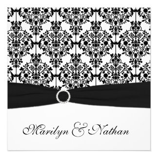 Black and White Damask Wedding Invitation