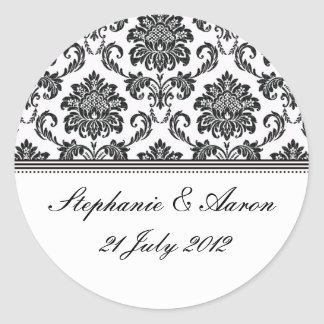 Black and White Damask Wedding Label