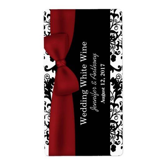 Black and White Damask Wedding Mini Wine Labels