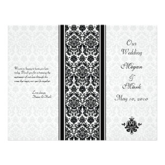 Black and White Damask Wedding Program 21.5 Cm X 28 Cm Flyer