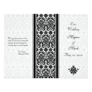 Black and White Damask Wedding Program 21.5 Cm X 28 Cm Flyer