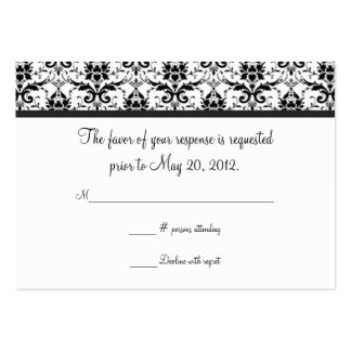 Black and White Damask Wedding RSVP Card Pack Of Chubby Business Cards